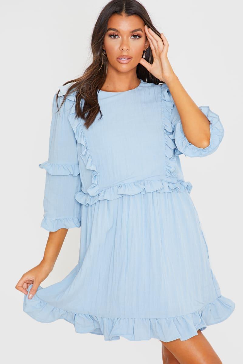 LORNA LUXE BLUE 'GIRL'S GIRL' RUFFLE MINI DRESS