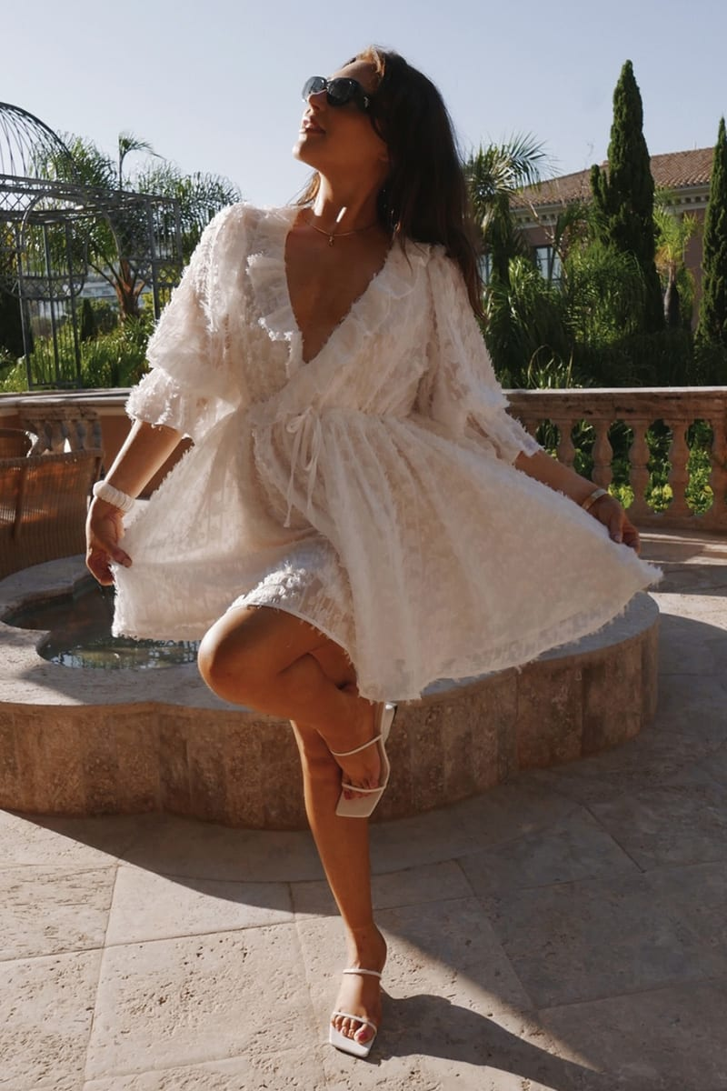 LORNA LUXE WHITE 'LUCY' PUFF SLEEVE FRILL NECK MINI DRESS