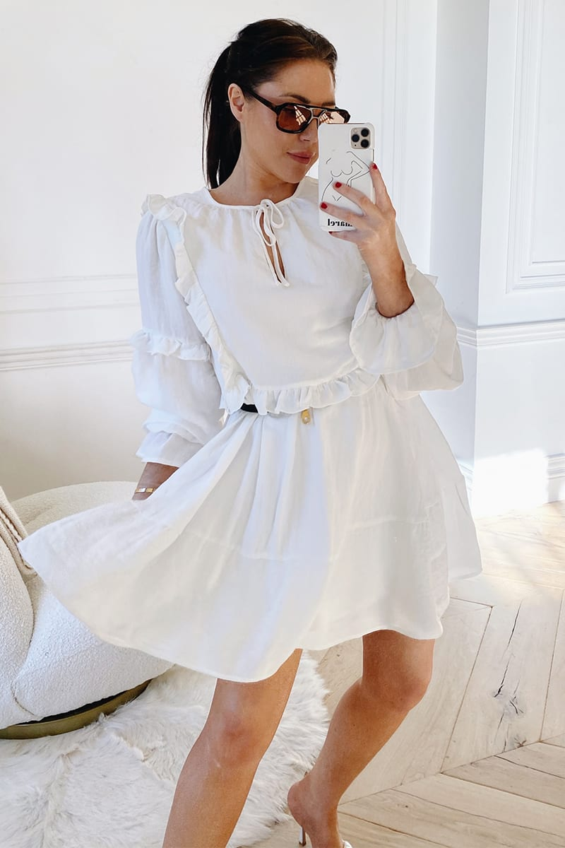 LORNA LUXE WHITE 'LOU LOU' FRILL LONG SLEEVE DAY DRESS