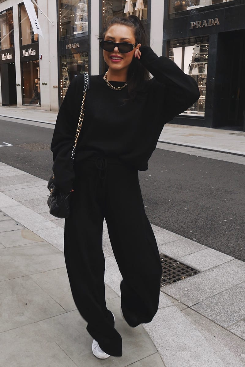 LORNA LUXE BLACK 'LOLA' KNITTED CO-ORD JUMPER