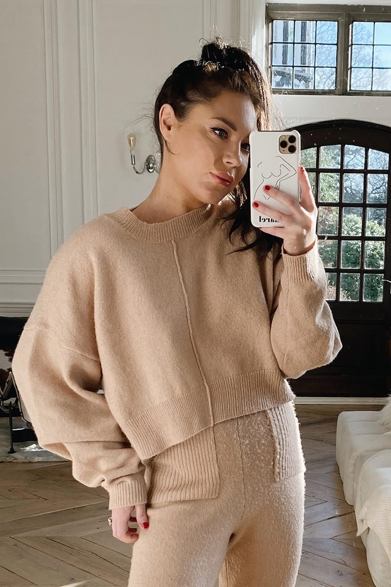 LORNA LUXE CAMEL 'MARINA' RECLAIMED SEAM DETAIL SLOUCHY JUMPER