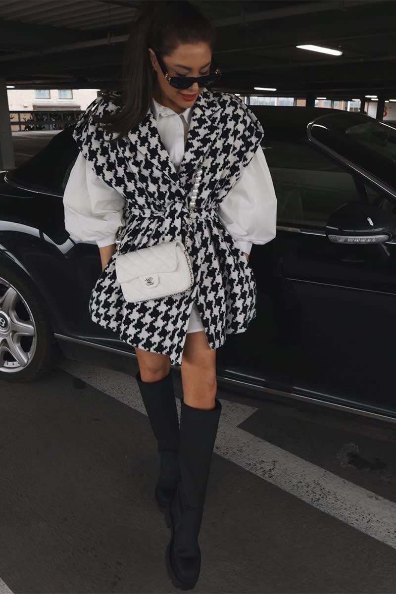 LORNA LUXE 'L'AVENUE' HOUNDSTOOTH SLEEVELESS JACKET