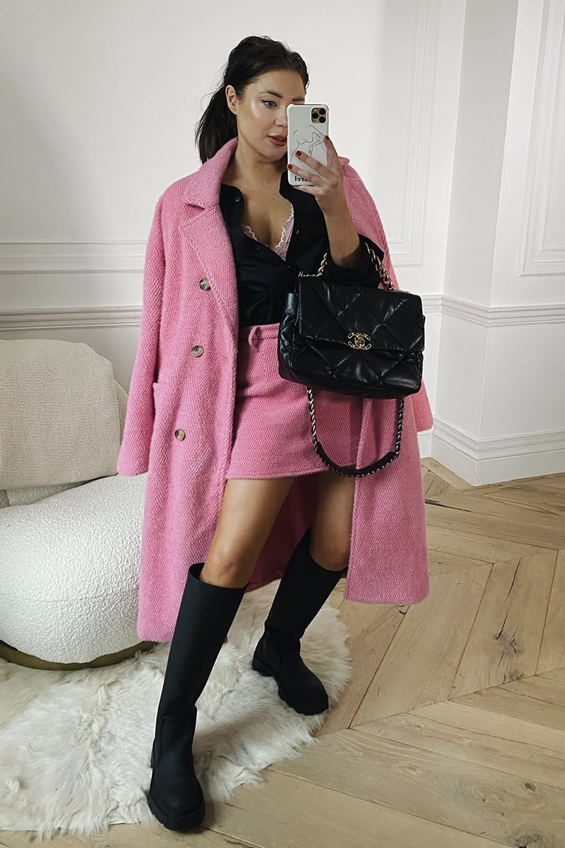 LORNA LUXE PINK 'ELIZABETH' BORROWED HIS DOUBLE BREASTED COAT