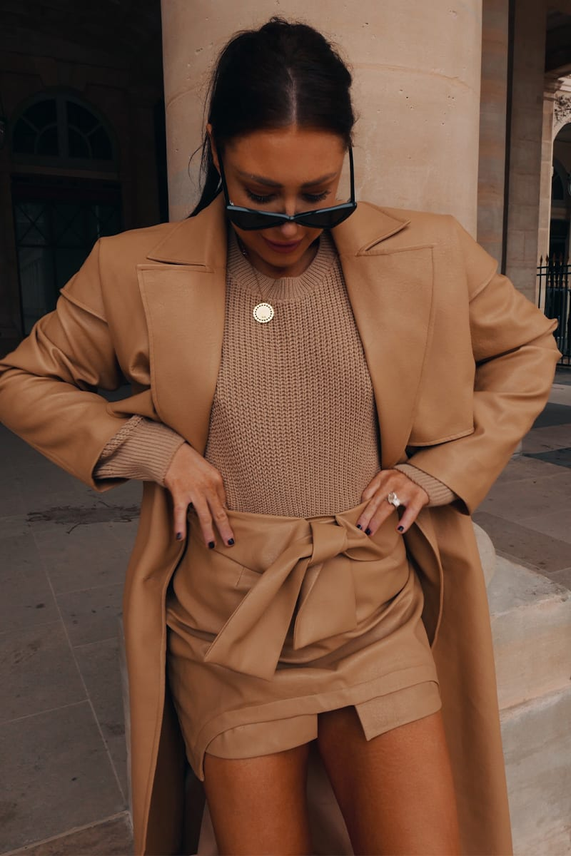 LORNA LUXE CAMEL 'LOLITA' LEATHER LOOK SKIRT