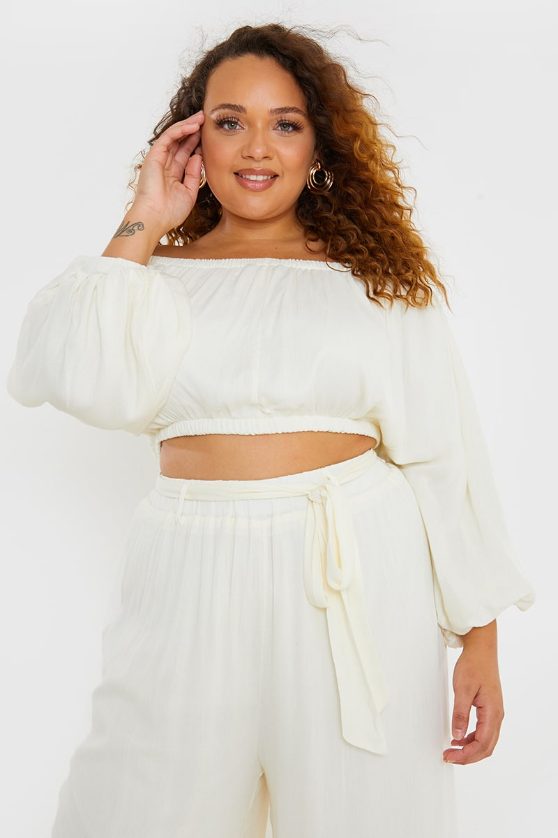 CURVE LORNA LUXE WHITE 'AVALON' CHEESECLOTH BARDOT BALLOON SLEEVE TOP