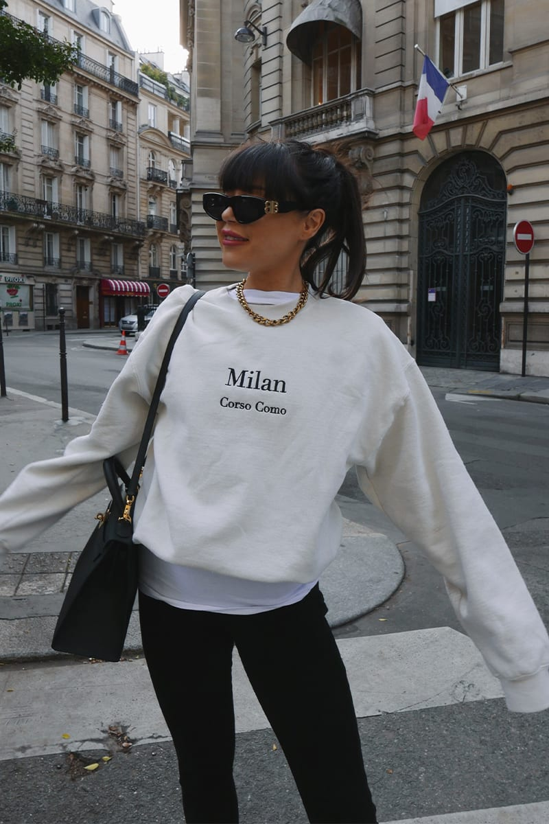 LORNA LUXE OFF WHITE 'MILAN' EMBROIDERED SWEATSHIRT