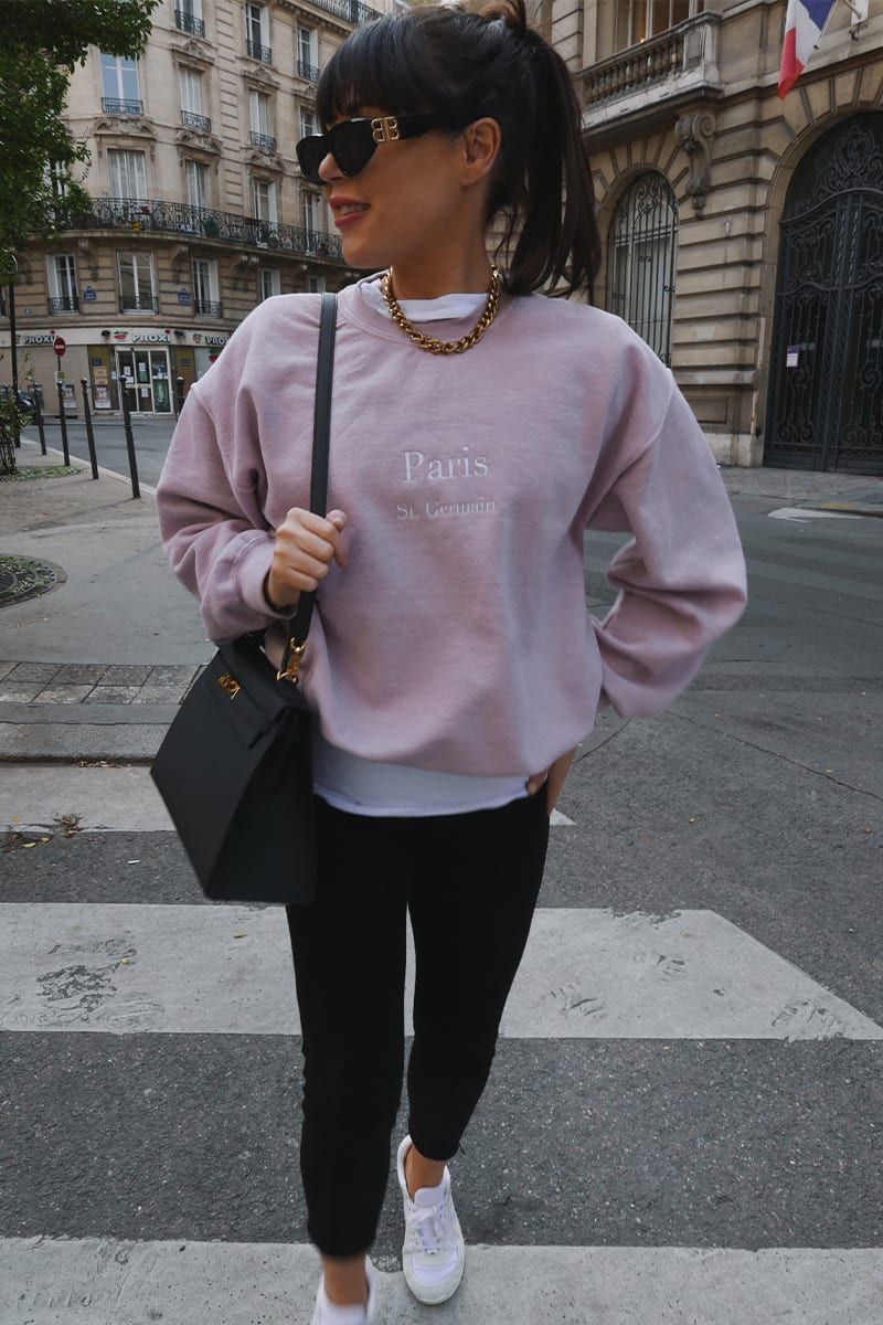 LORNA LUXE PINK 'PARIS' EMBROIDERED SWEATSHIRT
