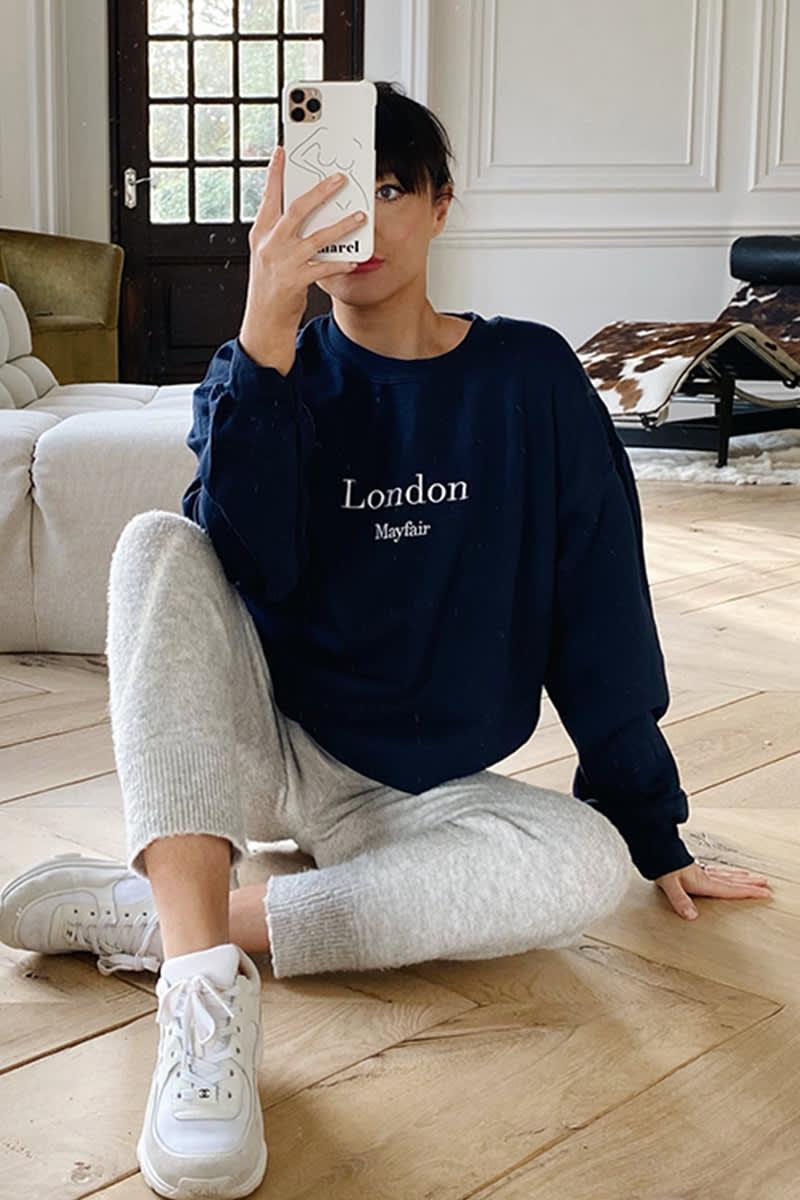 LORNA LUXE NAVY 'LONDON' EMBROIDERED SWEATSHIRT