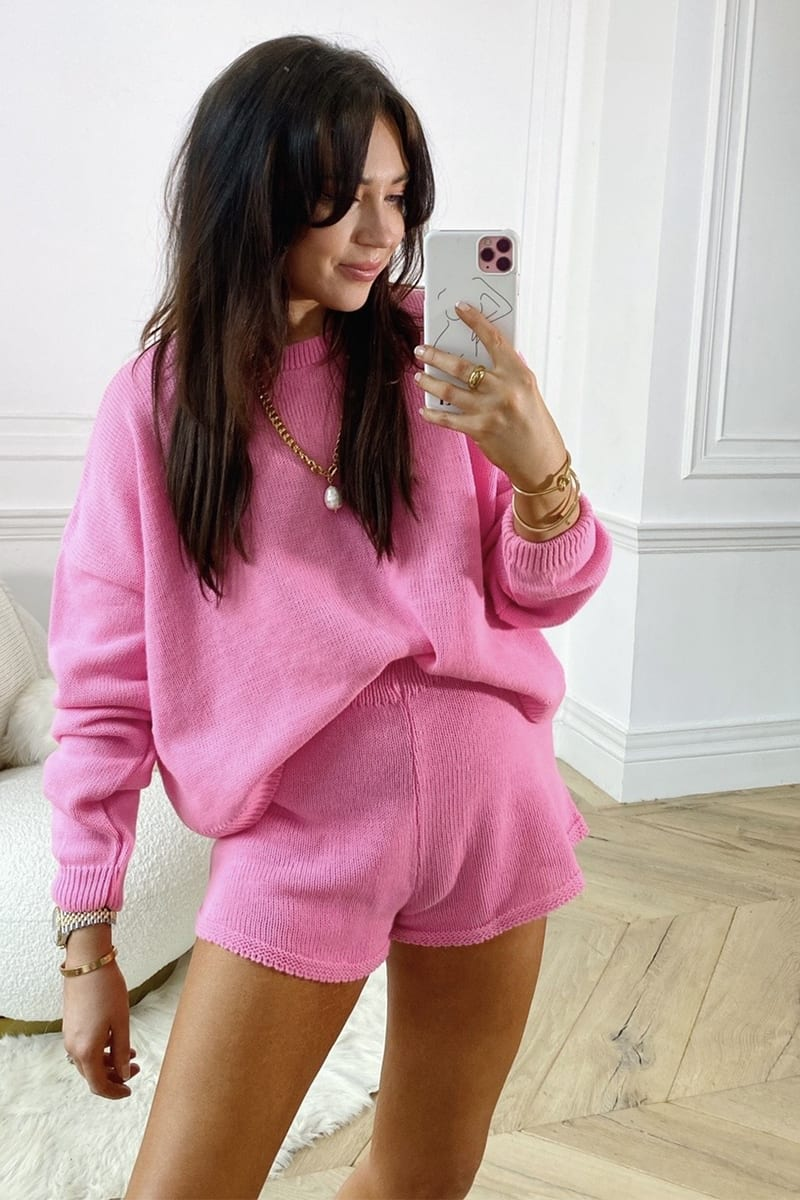 LORNA LUXE PINK 'LOLA' KNITTED CO ORD JUMPER