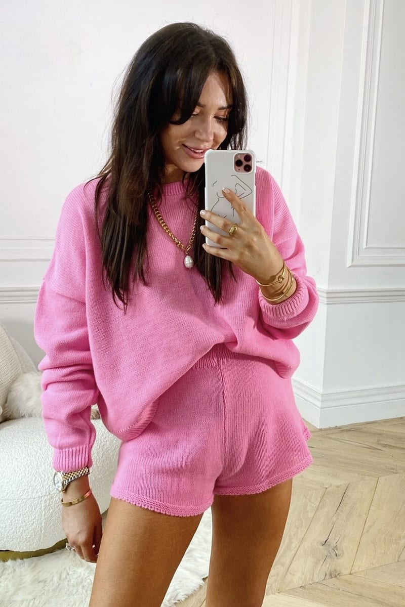 LORNA LUXE PINK 'LOLA' KNITTED CO ORD SHORTS