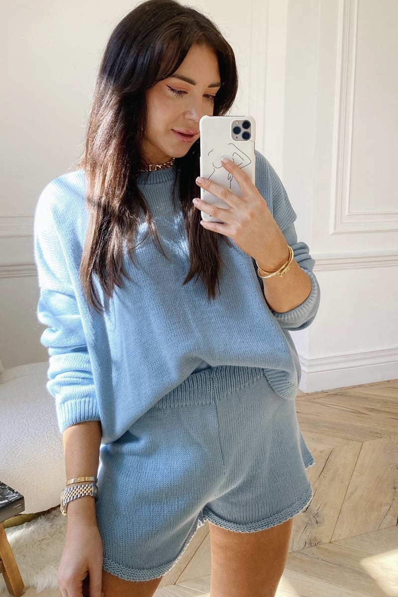 LORNA LUXE BLUE 'LOLA' KNITTED CO ORD JUMPER