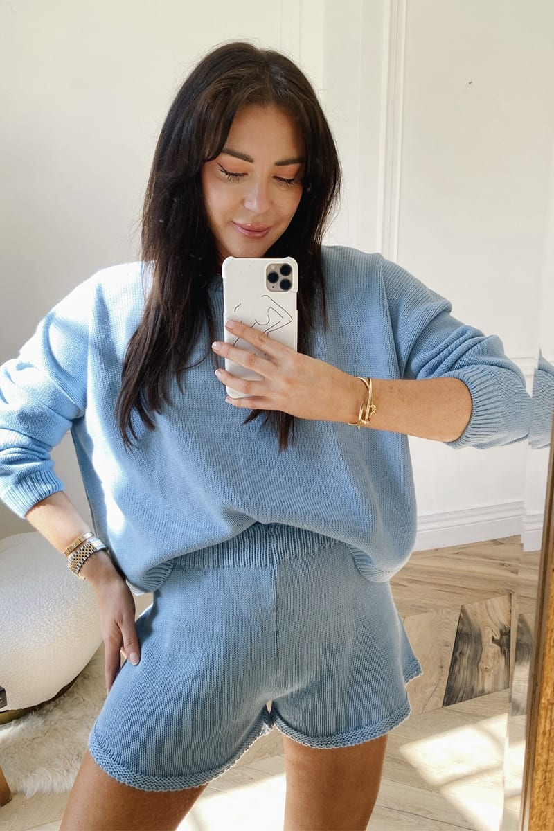 LORNA LUXE BLUE 'LOLA' KNITTED CO ORD SHORTS