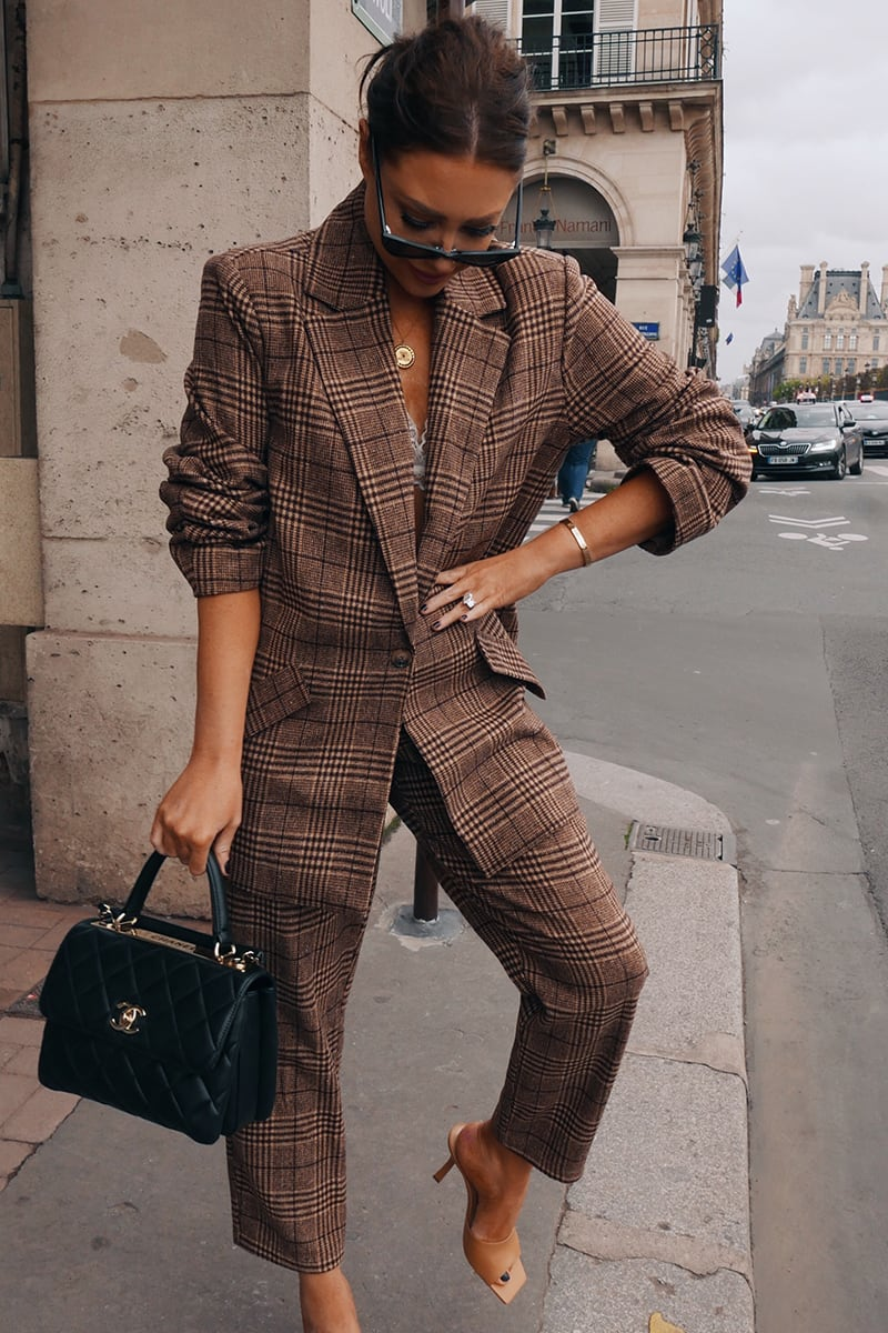 LORNA LUXE BROWN CHECK 'BONNIE & CLYDE' TAILORED CO-ORD TROUSER