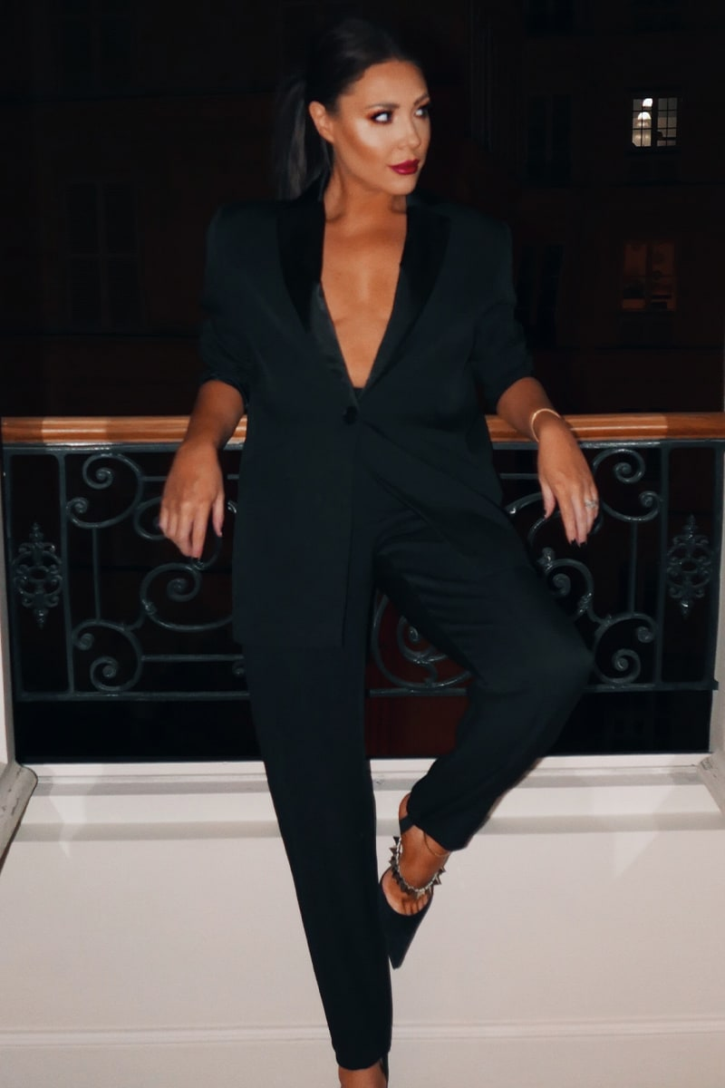 LORNA LUXE PREMIUM 'PAIGE' BLACK TAILORED DINNER TROUSERS WITH STIRRUP