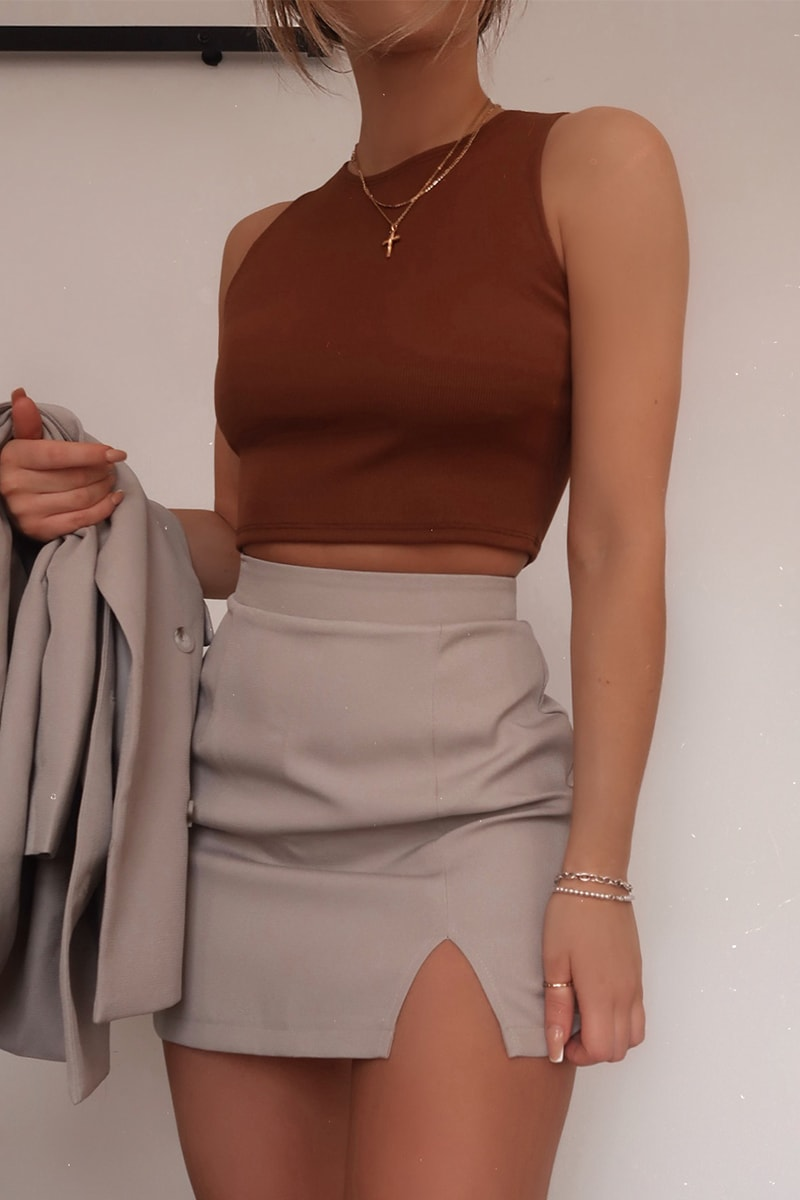 FASHION INFLUX GREY WOVEN MINI SKIRT