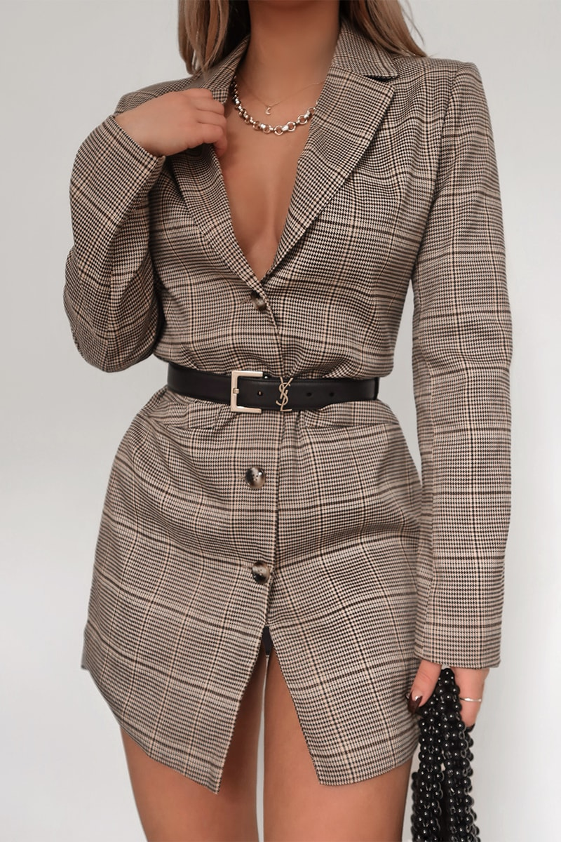 FASHION INFLUX BROWN HERITAGE CHECK SINGLE BREASTED LONGLINE BLAZER