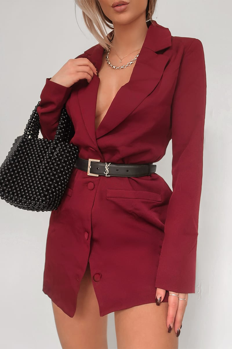 FASHION INFLUX WINE SINGLE BREASTED LONGLINE BLAZER