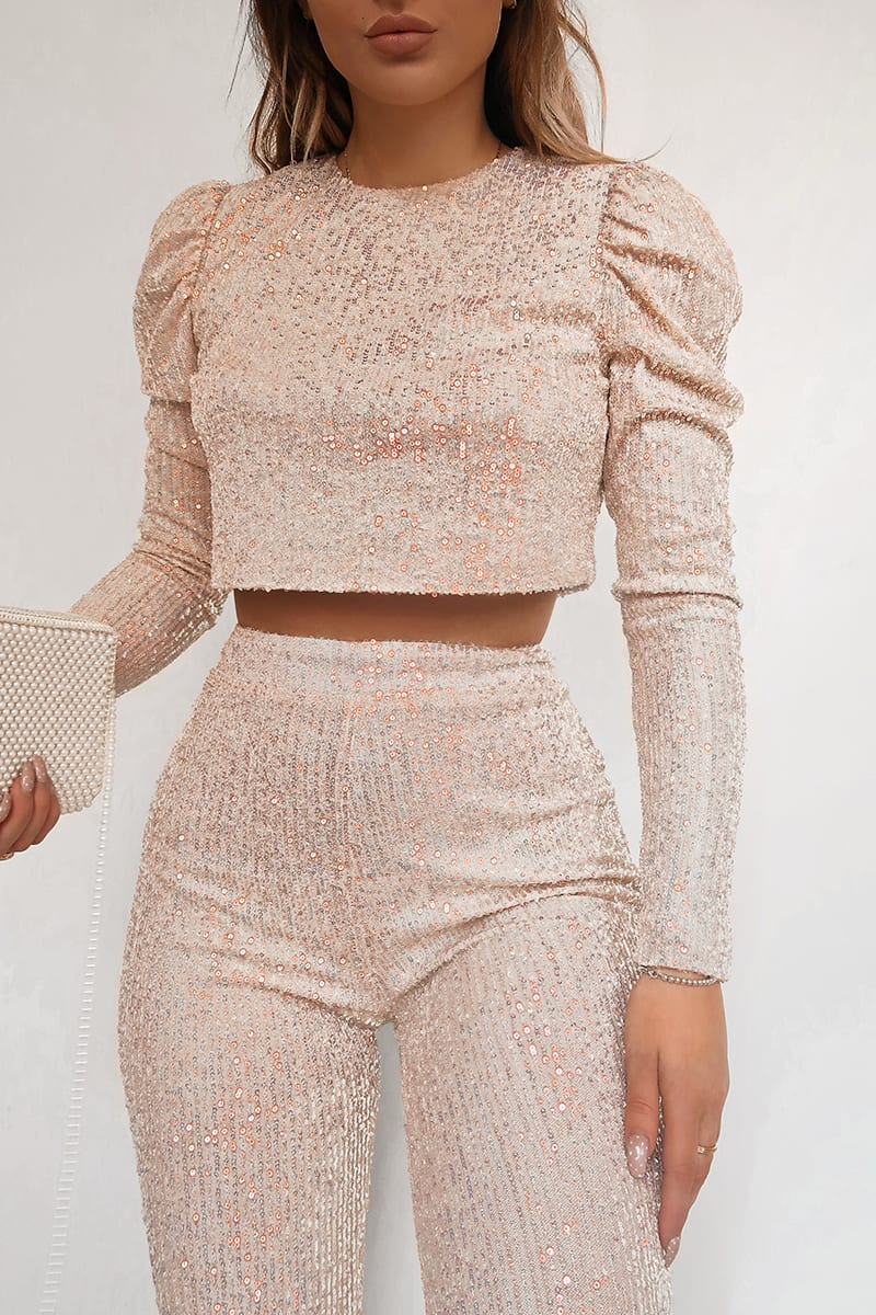 FASHION INFLUX CREAM SEQUIN LONG SLEEVE CROP TOP