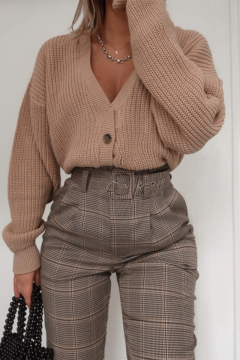 FASHION INFLUX BROWN HERITAGE CHECK TROUSERS