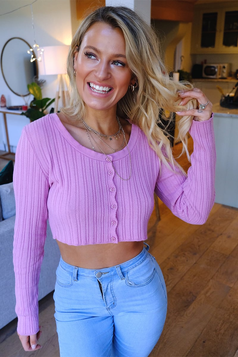 MEGGAN GRUBB DUSTY PINK RIBBED CREW NECK CROPPED CARDIGAN