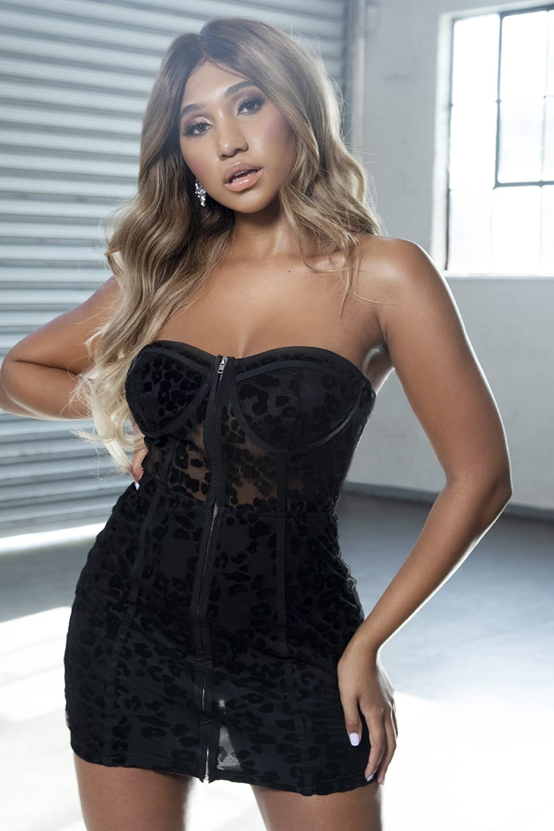 MEG KYLIE BLACK BANDEAU LEOPARD MESH BUSTIER MINI DRESS