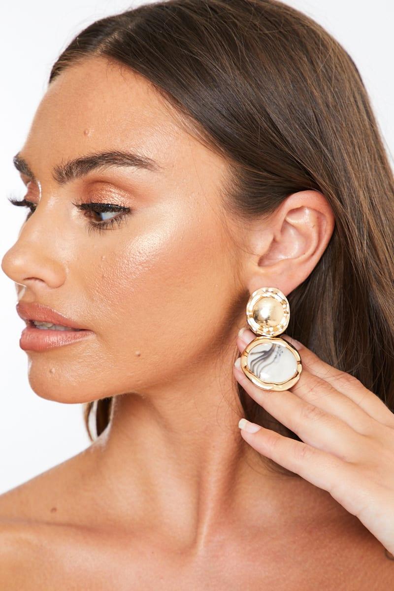 GOLD CIRCLE STONE EARRINGS