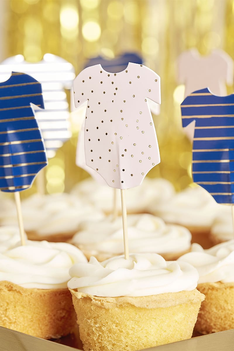 GINGER RAY PINK AND NAVY BABYGROW CUPCAKE TOPPERS