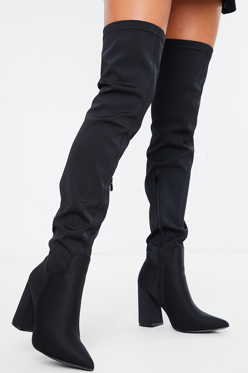 BLACK STRETCH BLOCK HEEL OVER THE KNEE BOOTS