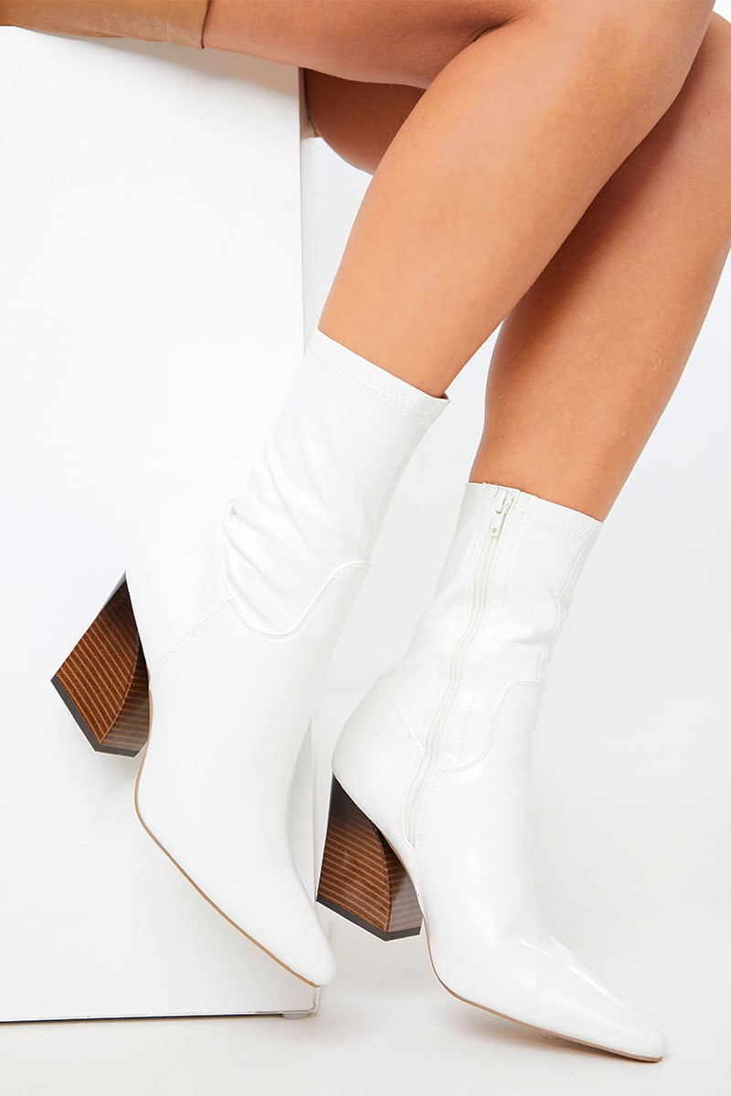 WHITE STRETCH PU ANKLE BOOTS