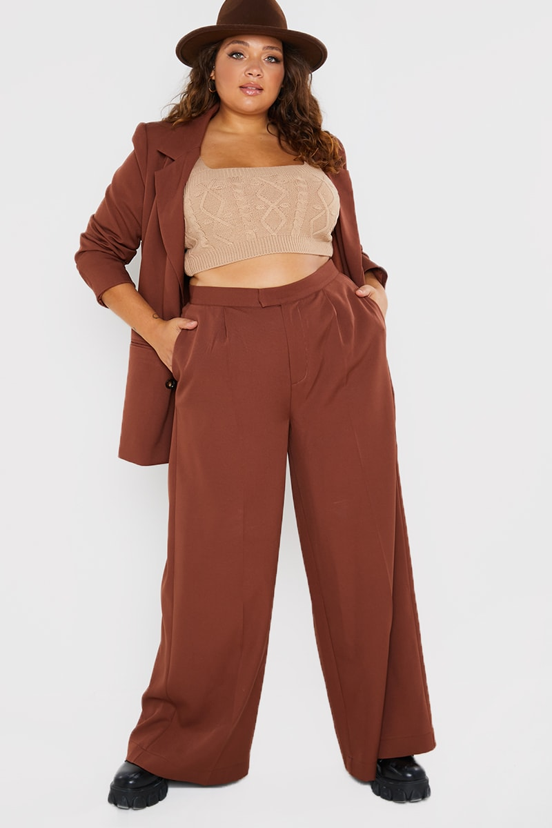 CURVE PERRIE SIAN BROWN TAILORED WIDE LEG TROUSERS