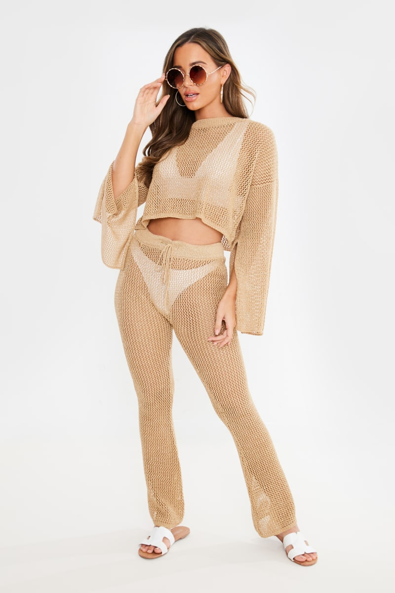 gold crochet top and trouser co ord