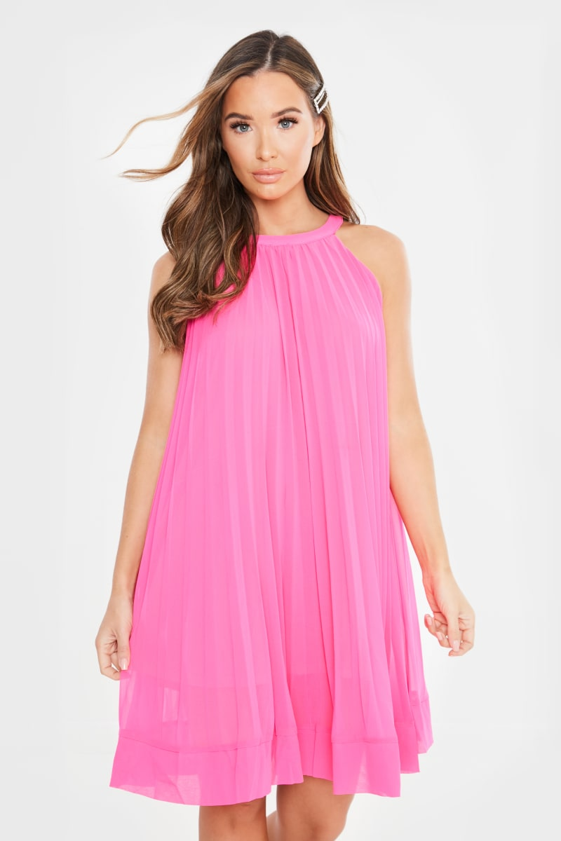 pink pleated high neck mini dress