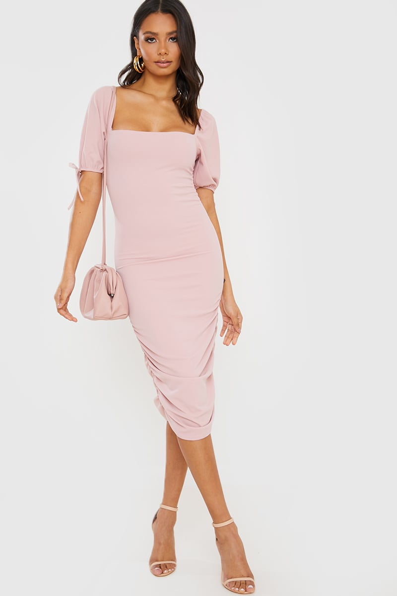 BLUSH PUFF SLEEVE RUCHED MIDI DRESS