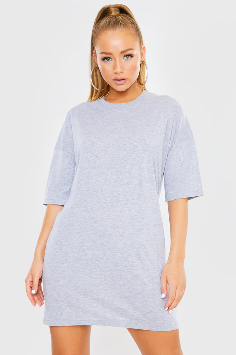 GREY OVERSIZED SLOUCHY T SHIRT DRESS