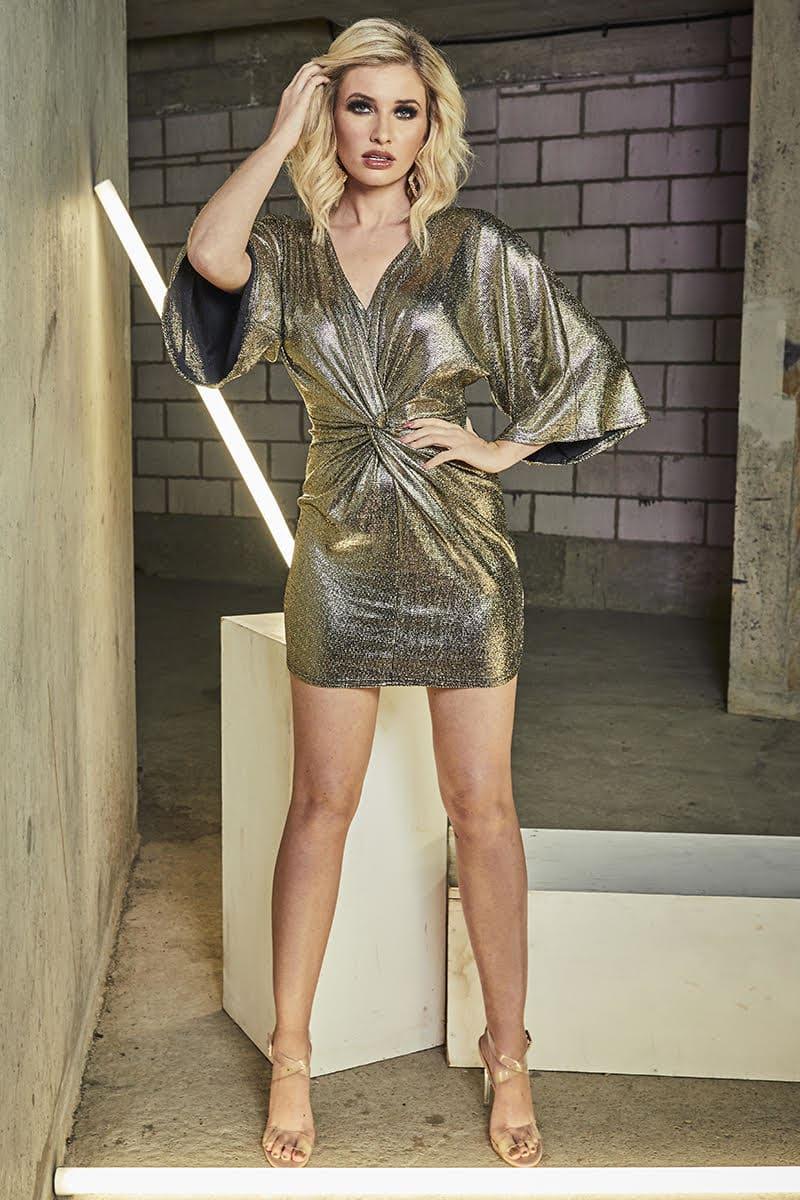GOLD TWIST FRONT METALLIC MINI DRESS