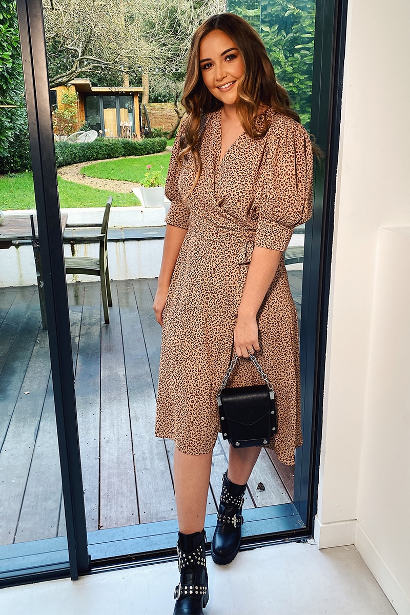 BROWN LEOPARD PUFF SLEEVE MIDI DRESS