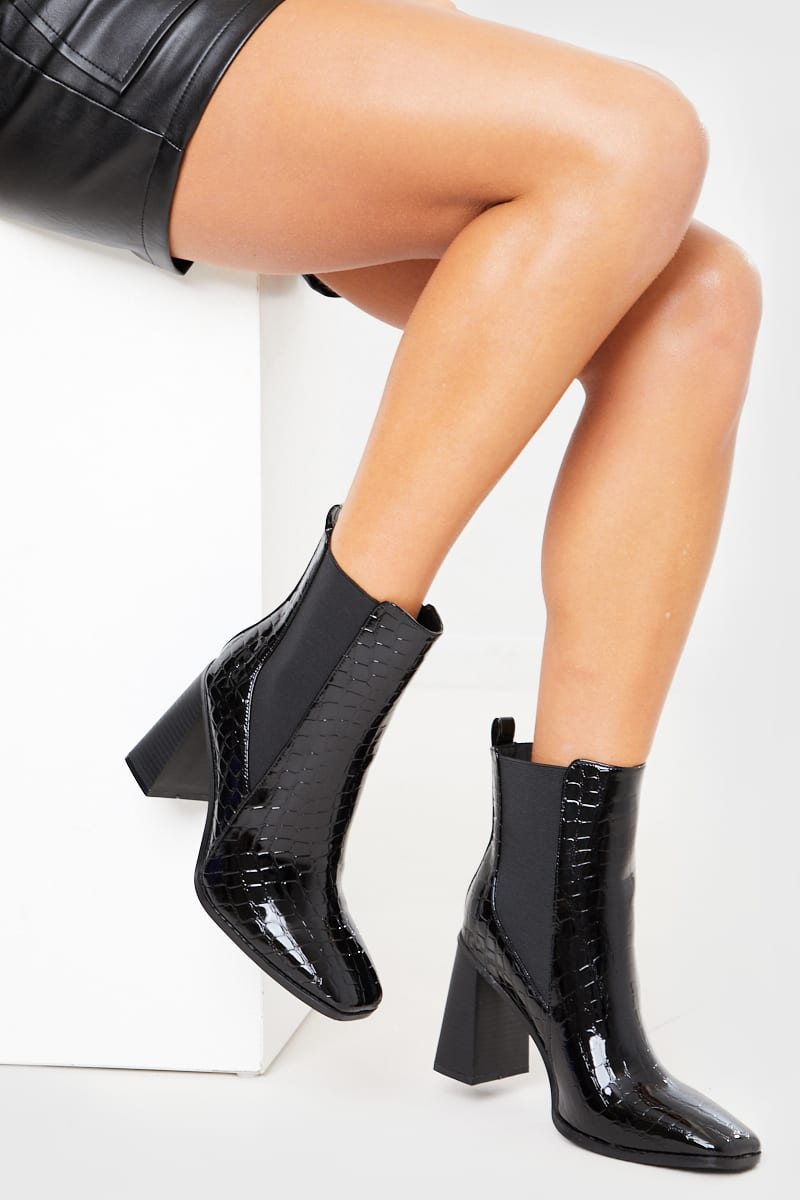 BLACK CROC POINTED PATENT BOOTS