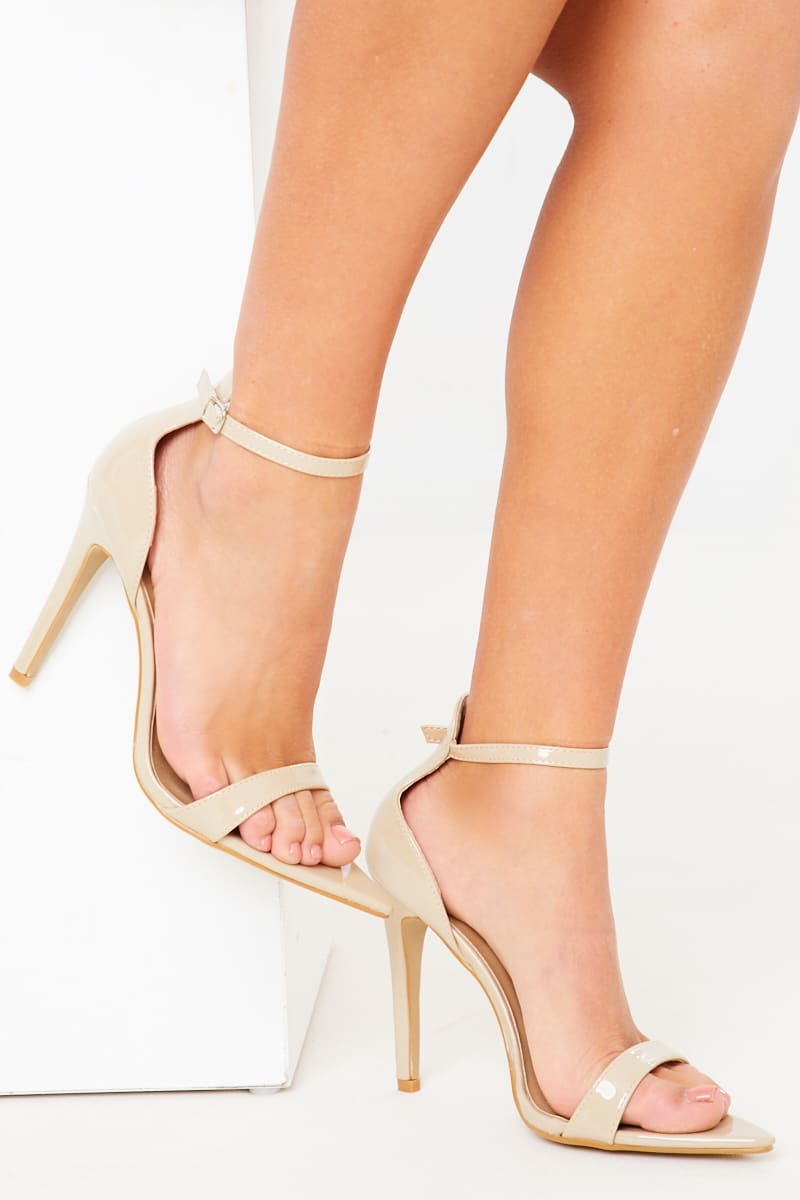 NUDE PATENT POINTED ANKLE STRAP HEELS