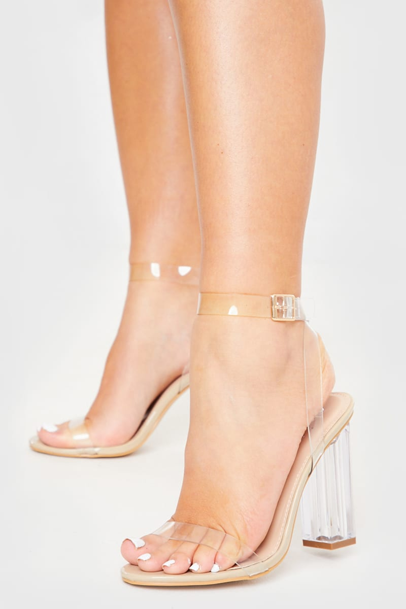 NUDE PATENT CLEAR STRAP HEELS