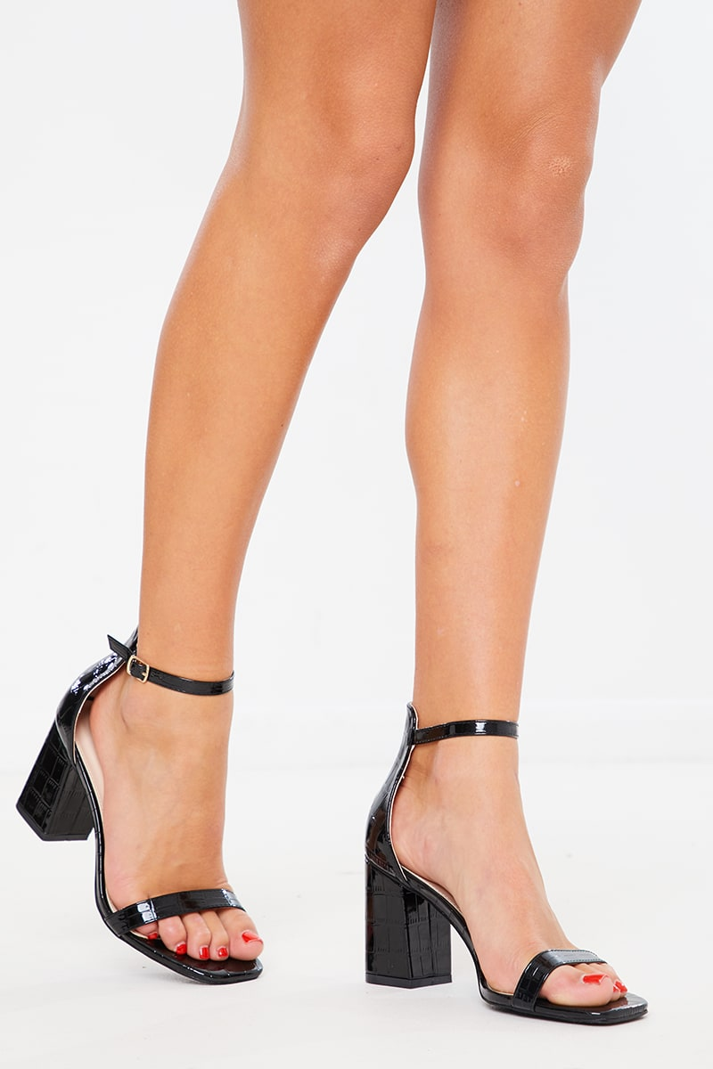 BLACK PATENT CROC BARELY THERE BLOCK HEELS