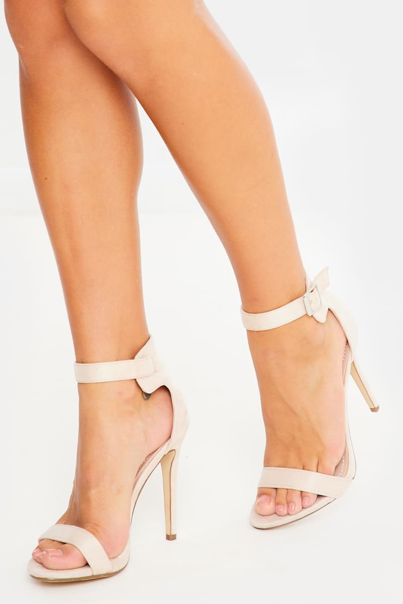 nude barely there buckle detail faux suede heels