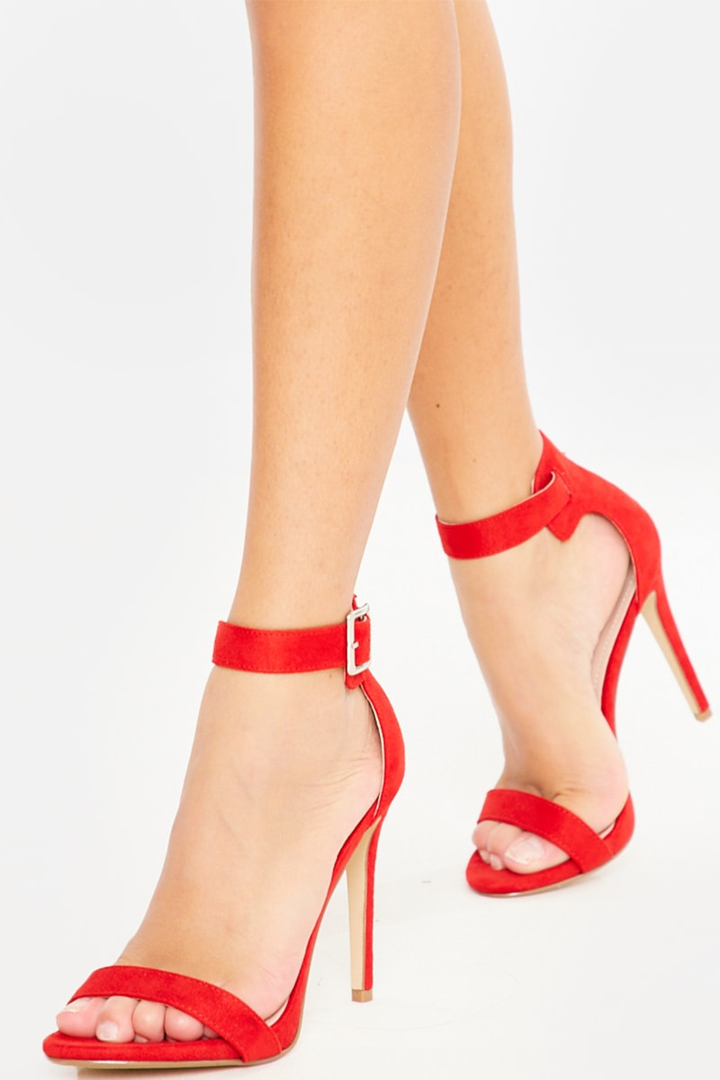 RED BARELY THERE BUCKLE DETAIL FAUX SUEDE HEELS