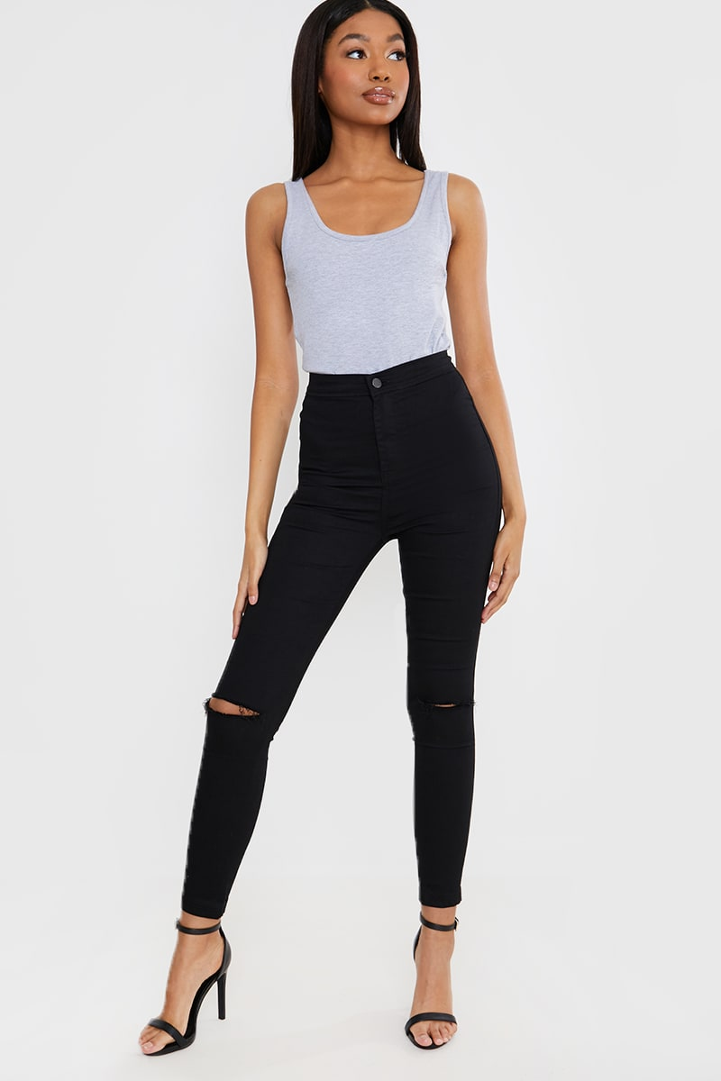 THE SCORPIO BLACK HIGH WAIST SLASH KNEE LIGHTWEIGHT TUBE JEANS