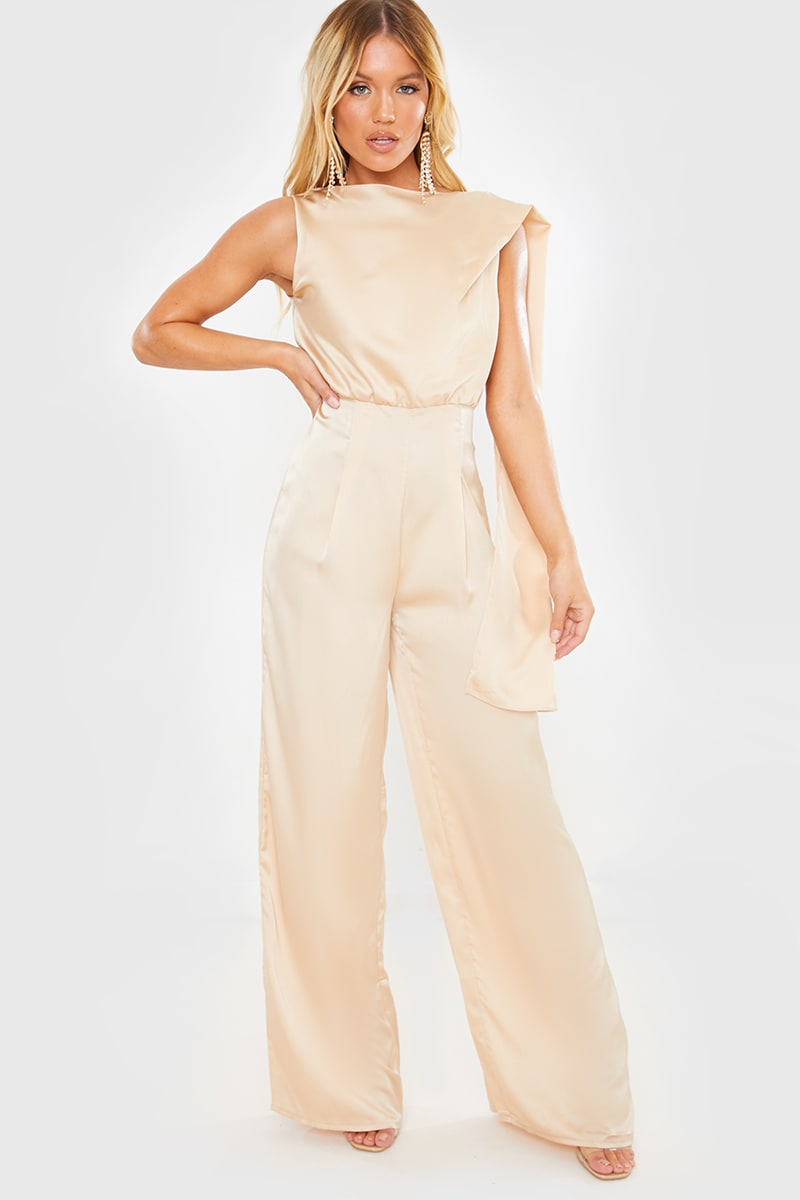 LIGHT GOLD SATIN DRAPE JUMPSUIT