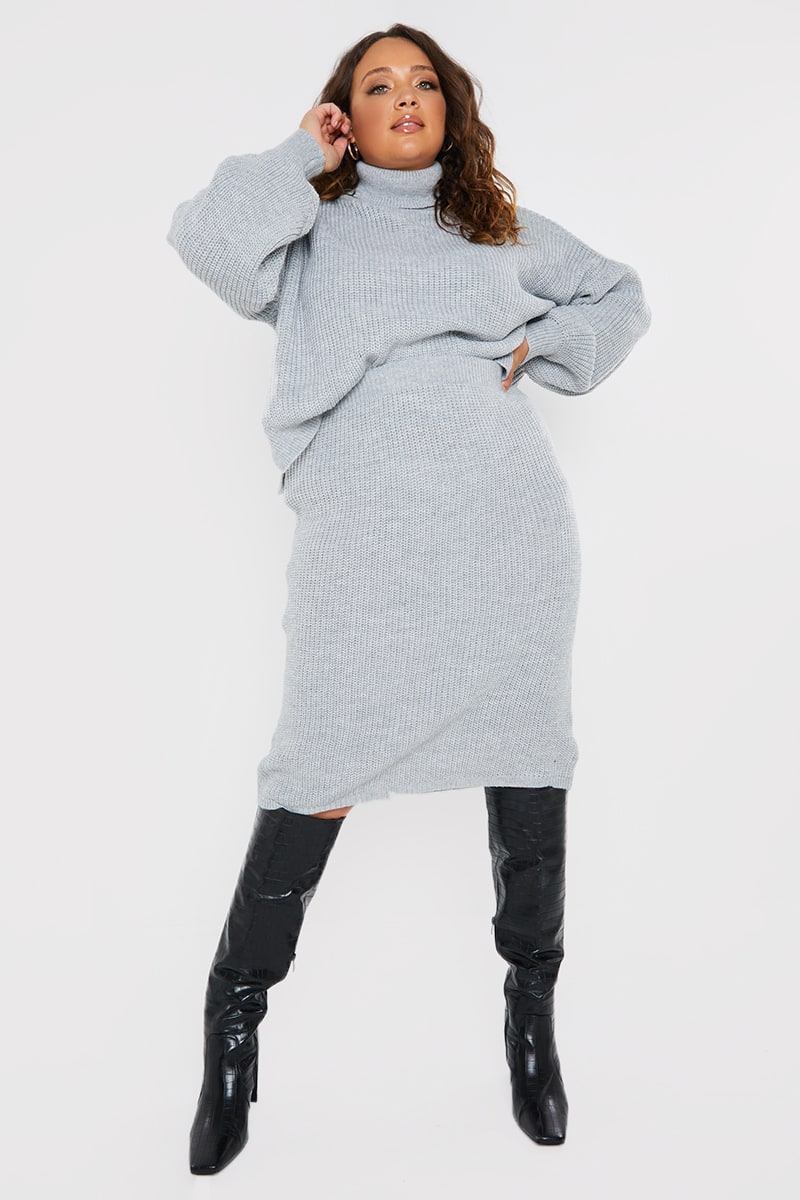 CURVE PERRIE SIAN GREY KNITTED SKIRT
