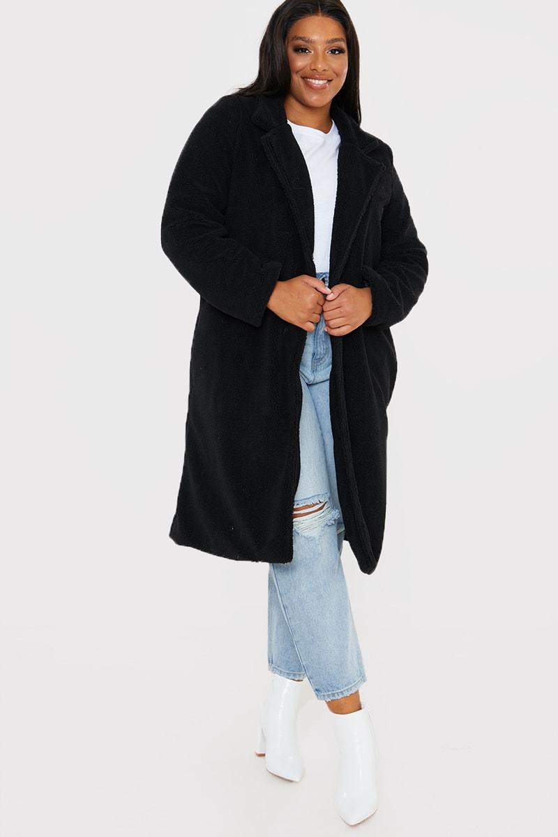 CURVE BLACK LONGLINE TEDDY FUR COAT