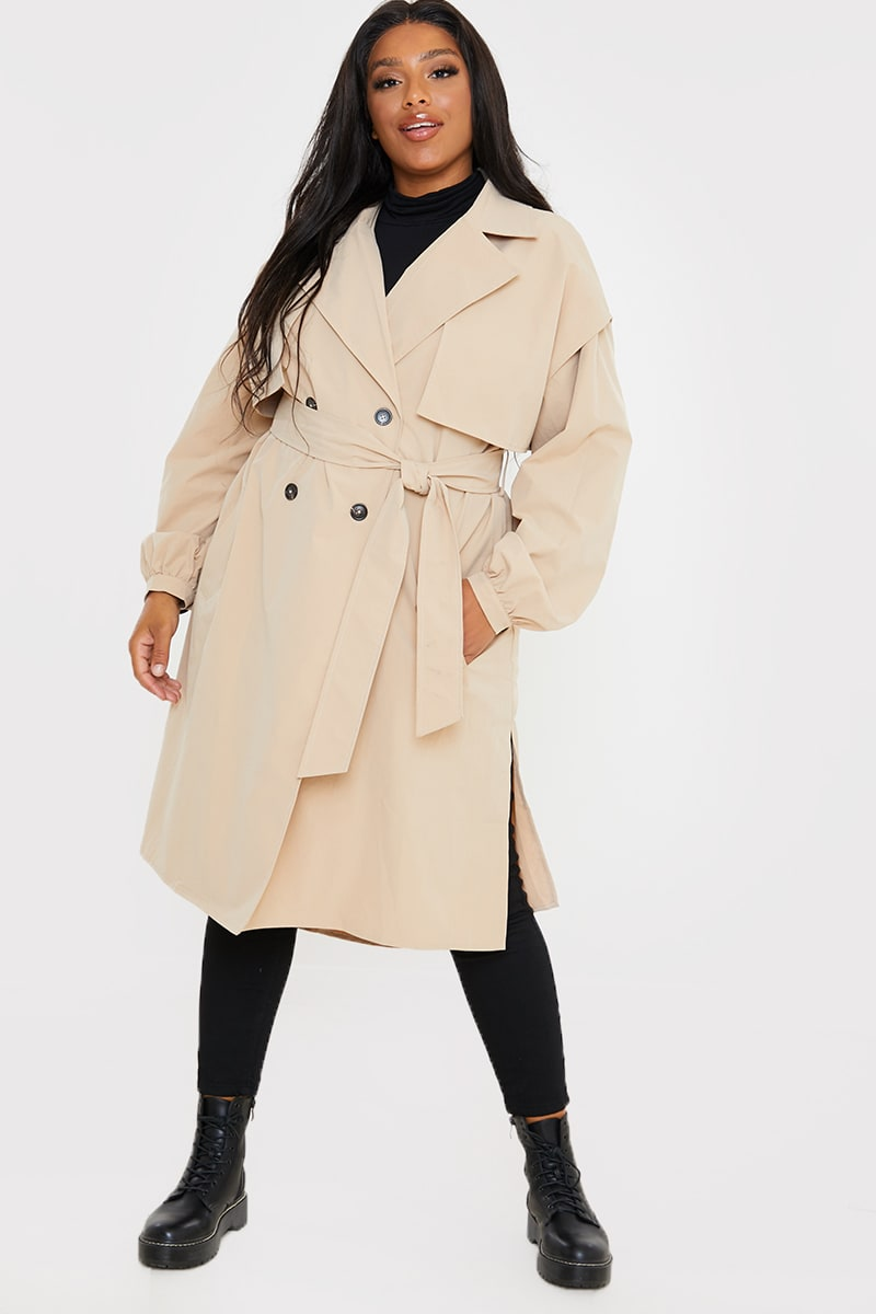 CURVE STONE BELTED LIGHT WEIGHT TRENCH COAT