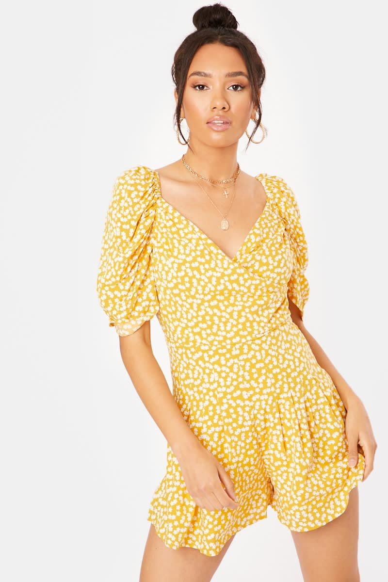 yellow floral wrap playsuit