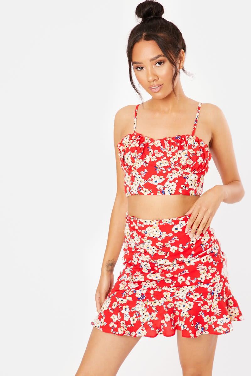 red floral ruffle hem co-ord mini skirt