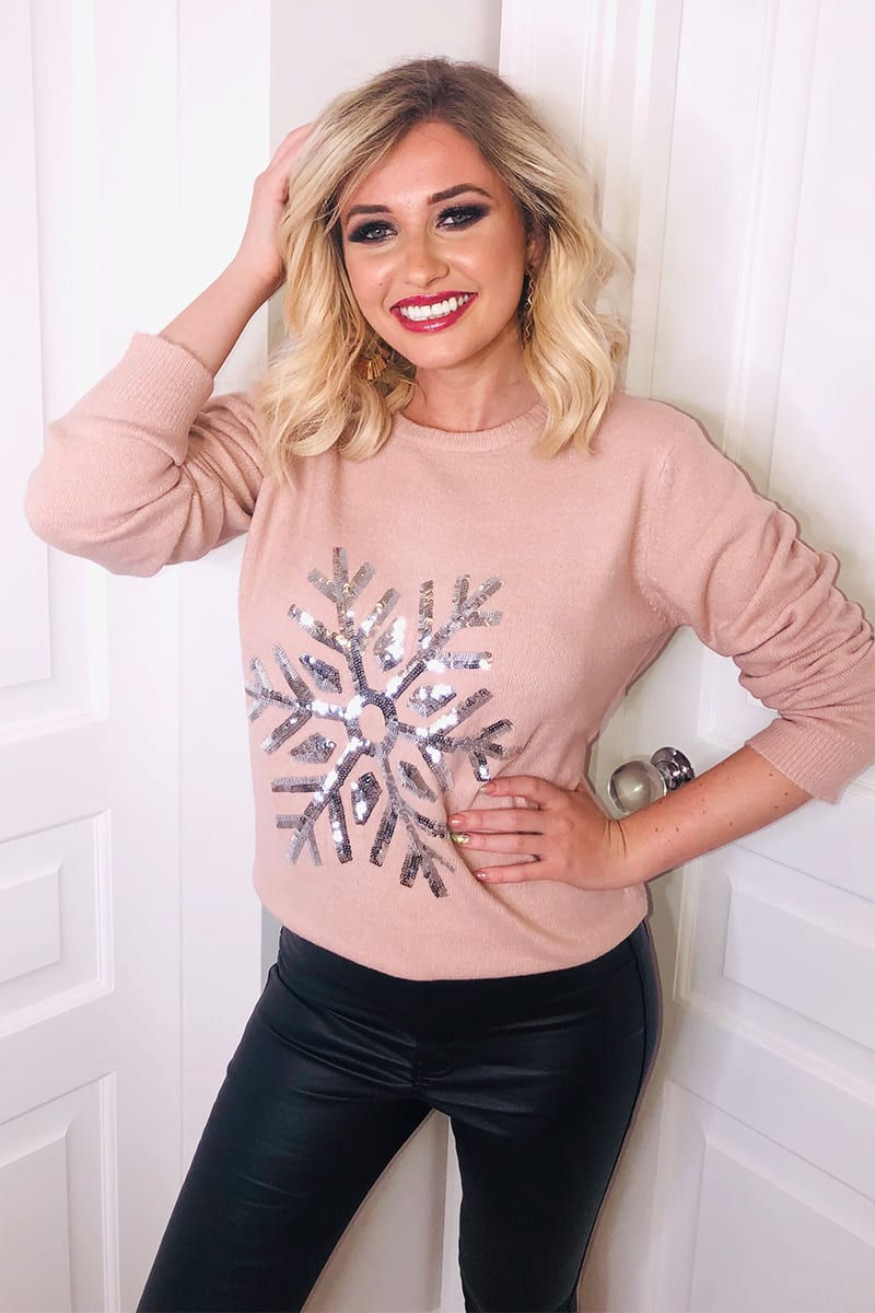 PINK SEQUIN SNOWFLAKE JUMPER